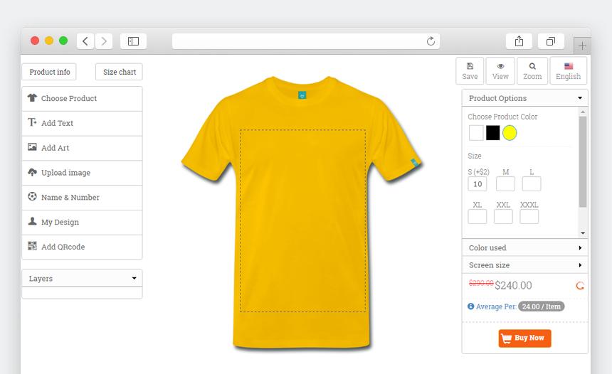 Custom Product Designer T Shirt Ecommerce